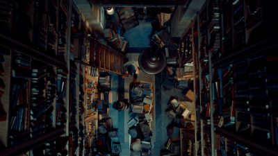 Still from Hugo (2011) that has been tagged with: top-down